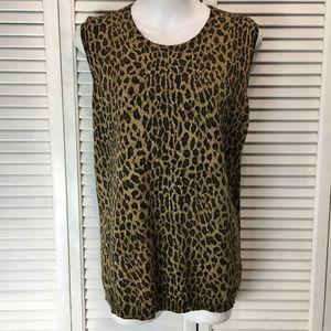 Ralph Lauren animal print sleeveless sweater sz 2X